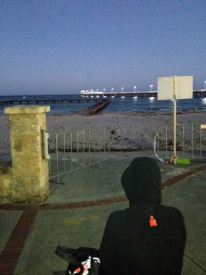 A quiet moment to myself before the start of Busselton Ironman 2012, contemplating the long day ahead